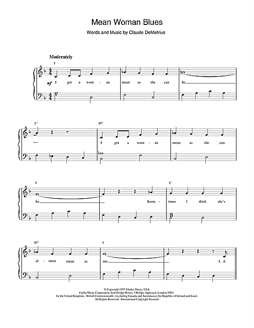 Download Elvis Presley Mean Woman Blues sheet music and printable PDF score & Rock music notes