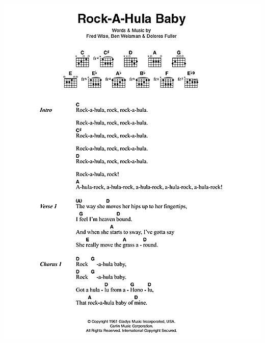 Download Elvis Presley Rock-A-Hula Baby sheet music and printable PDF score & Rock music notes