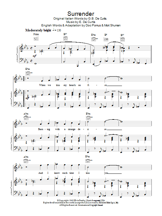 Download Elvis Presley Surrender sheet music and printable PDF score & Pop music notes