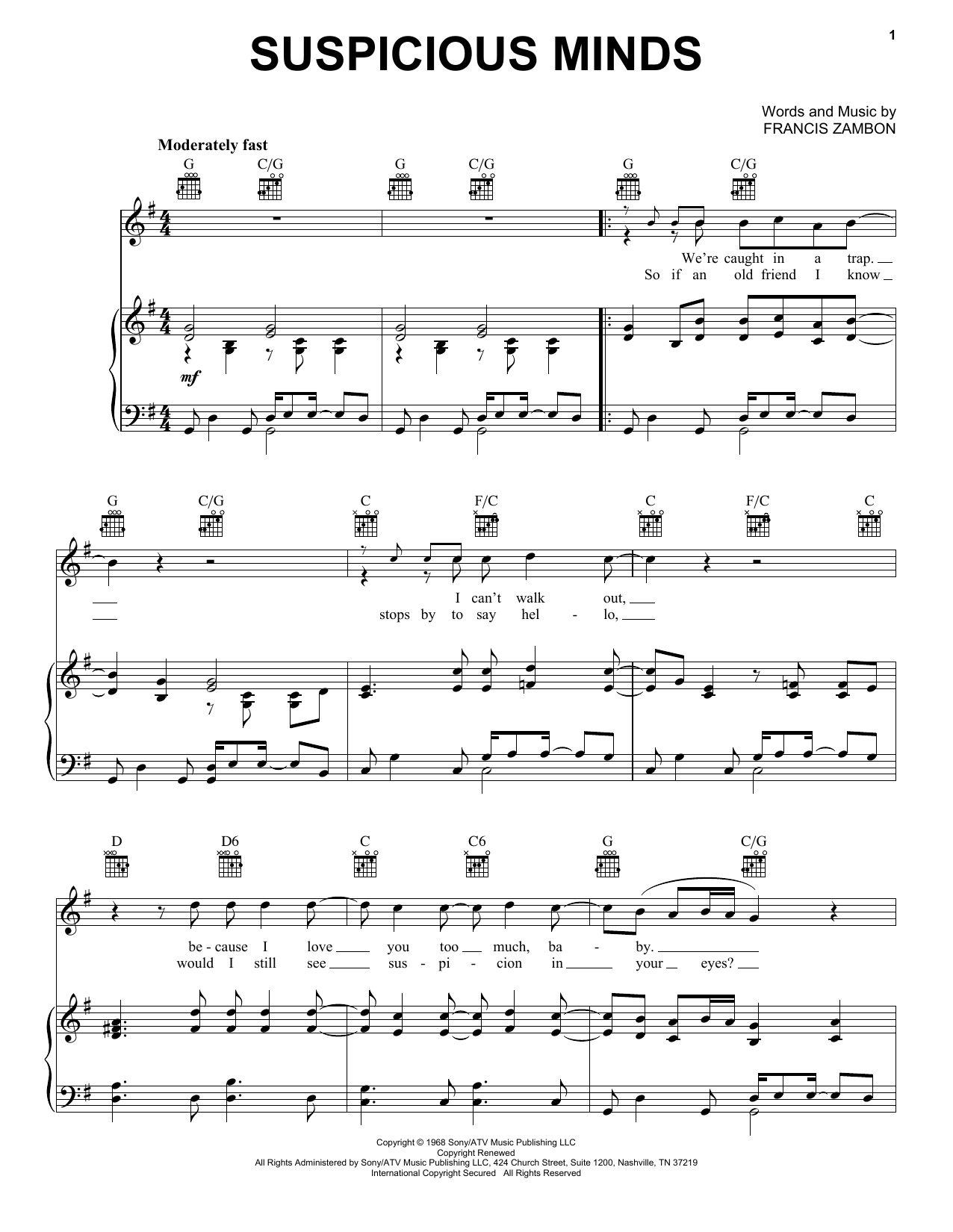 Download Elvis Presley Suspicious Minds sheet music and printable PDF score & Pop music notes