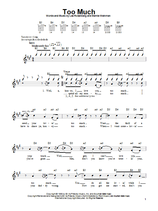 Download Elvis Presley Too Much sheet music and printable PDF score & Rock music notes