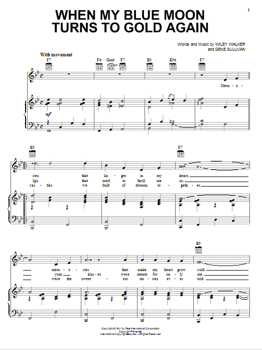 Download Elvis Presley When My Blue Moon Turns To Gold Again sheet music and printable PDF score & Pop music notes
