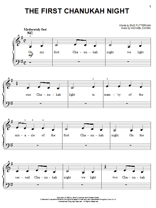 Download Enid Futterman The First Chanukah Night sheet music and printable PDF score & Christmas music notes