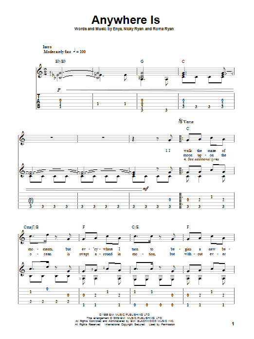Download Enya Anywhere Is sheet music and printable PDF score & Pop music notes