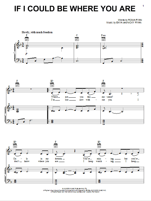 Download Enya If I Could Be Where You Are sheet music and printable PDF score & Pop music notes
