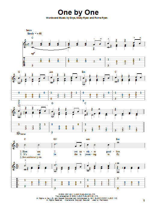 Download Enya One By One sheet music and printable PDF score & Pop music notes