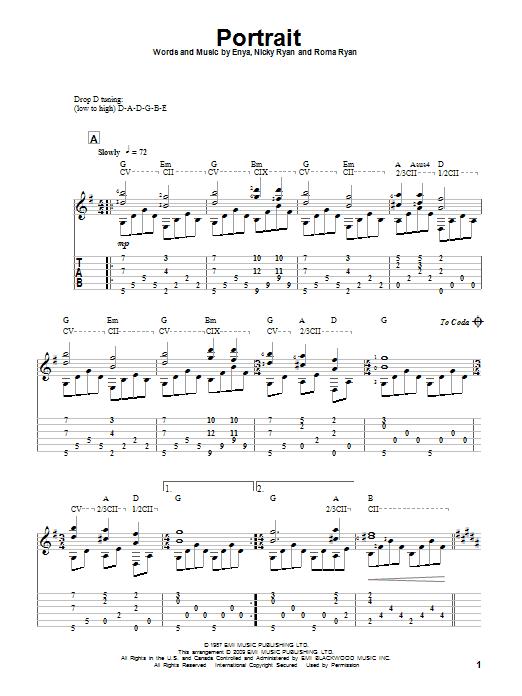 Download Enya Portrait sheet music and printable PDF score & Pop music notes