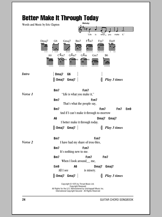 Download Eric Clapton Better Make It Through Today sheet music and printable PDF score & Rock music notes