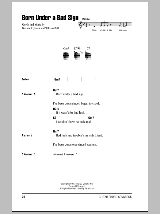 Download Eric Clapton Born Under A Bad Sign sheet music and printable PDF score & Pop music notes