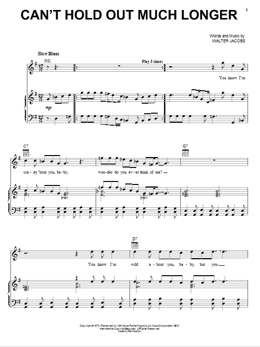 Download Eric Clapton Can't Hold Out Much Longer sheet music and printable PDF score & Pop music notes