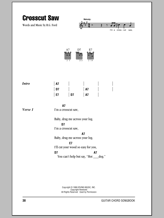 Download Eric Clapton Crosscut Saw sheet music and printable PDF score & Pop music notes