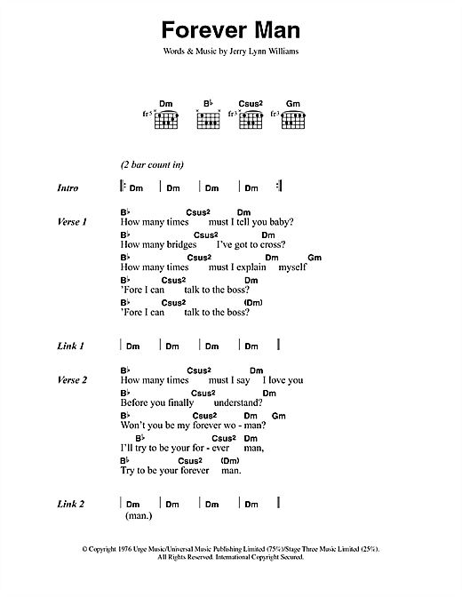 Download Eric Clapton Forever Man sheet music and printable PDF score & Pop music notes