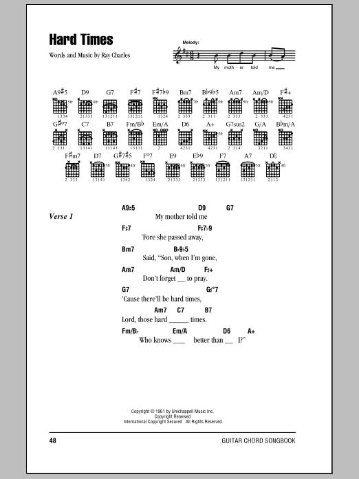 Download Eric Clapton Hard Times sheet music and printable PDF score & Pop music notes