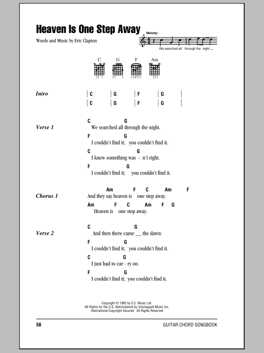 Download Eric Clapton Heaven Is One Step Away sheet music and printable PDF score & Rock music notes