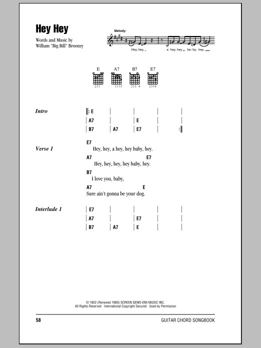 Download Eric Clapton Hey Hey sheet music and printable PDF score & Rock music notes
