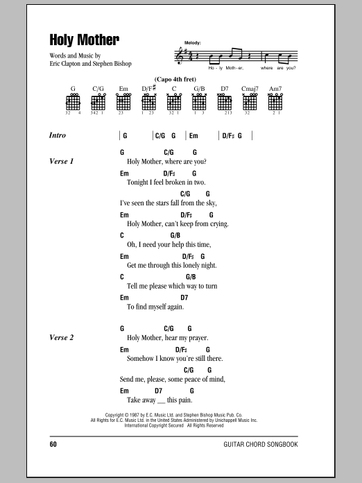 Download Eric Clapton Holy Mother sheet music and printable PDF score & Rock music notes