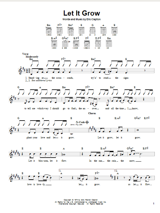Download Eric Clapton Let It Grow sheet music and printable PDF score & Rock music notes