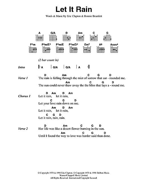 Download Eric Clapton Let It Rain sheet music and printable PDF score & Rock music notes