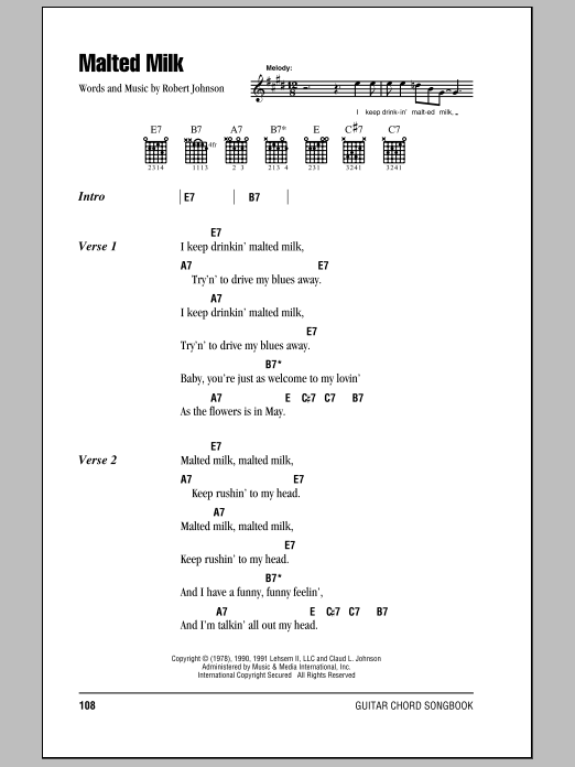 Download Eric Clapton Malted Milk sheet music and printable PDF score & Pop music notes