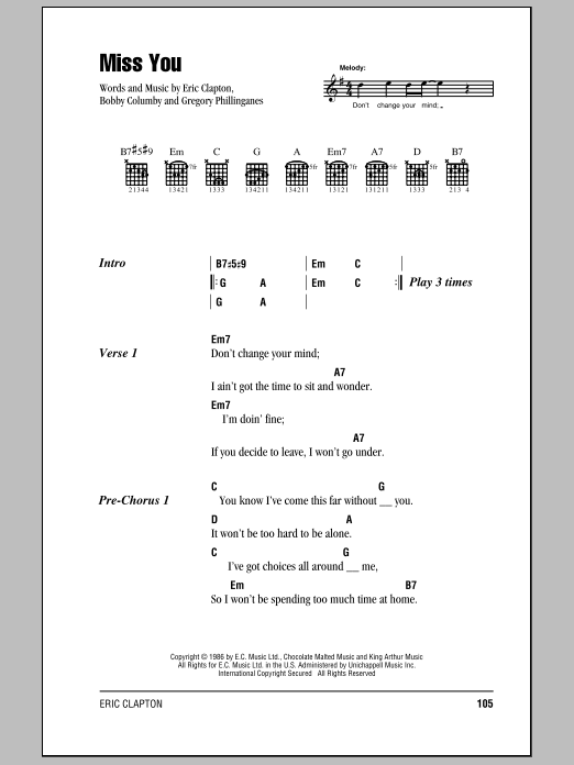 Download Eric Clapton Miss You sheet music and printable PDF score & Rock music notes