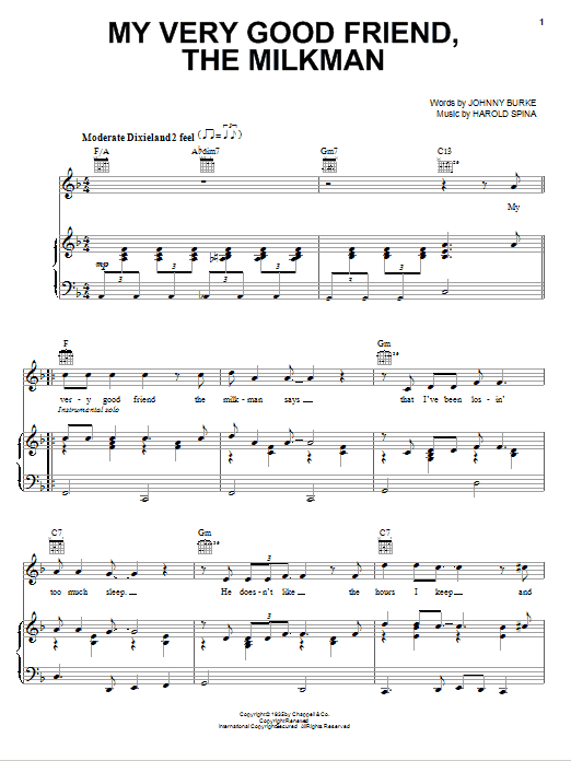 Download Eric Clapton My Very Good Friend, The Milkman sheet music and printable PDF score & Rock music notes