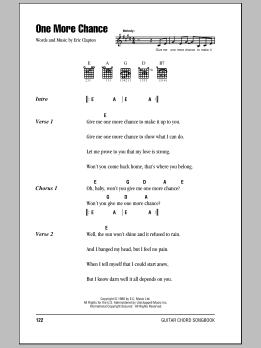 Download Eric Clapton One More Chance sheet music and printable PDF score & Rock music notes