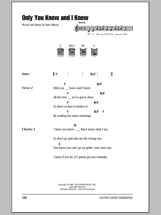 Download Eric Clapton Only You Know And I Know sheet music and printable PDF score & Rock music notes