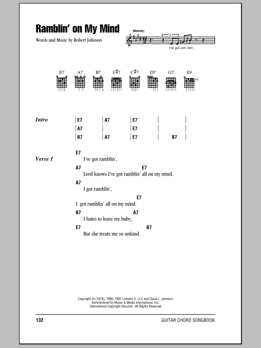 Download Eric Clapton Ramblin' On My Mind sheet music and printable PDF score & Pop music notes