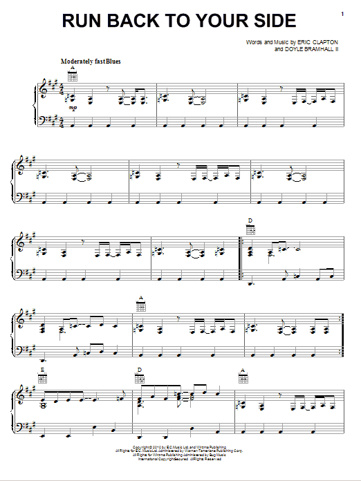 Download Eric Clapton Run Back To Your Side sheet music and printable PDF score & Rock music notes