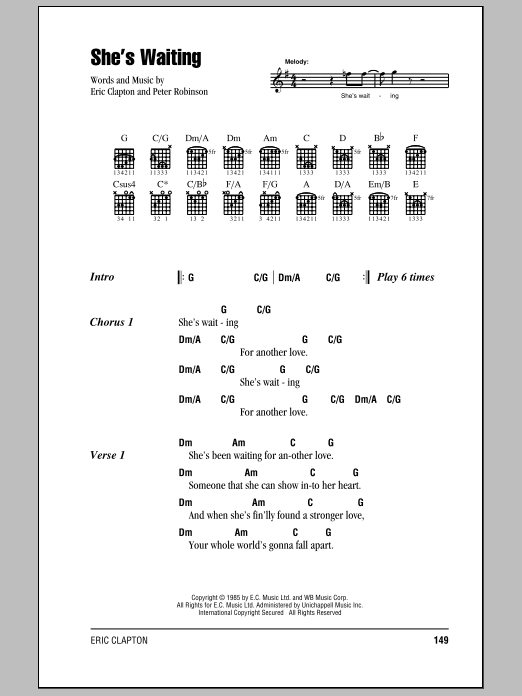 Download Eric Clapton She's Waiting sheet music and printable PDF score & Rock music notes