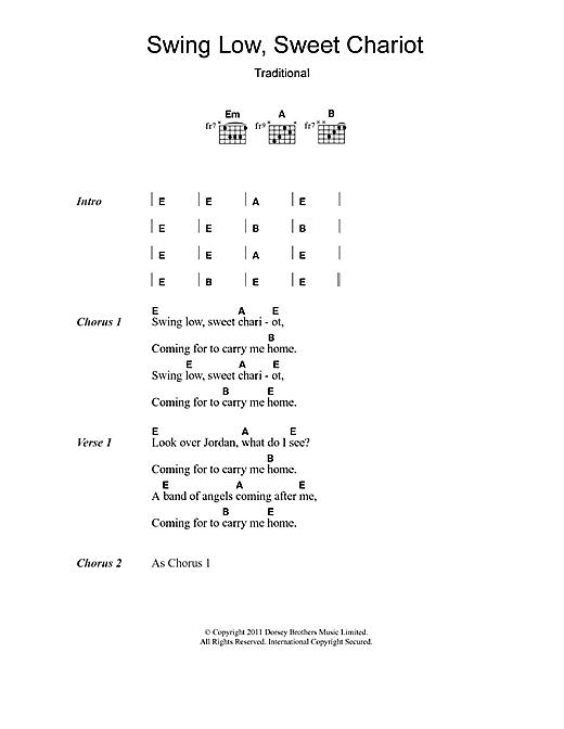 Eric Clapton 'Swing Low, Sweet Chariot' Sheet Music Notes, Chords    Download Printable Lyrics & Chords - SKU: 107934