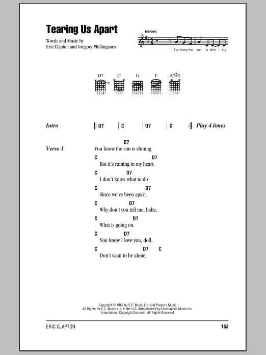 Download Eric Clapton Tearing Us Apart sheet music and printable PDF score & Rock music notes