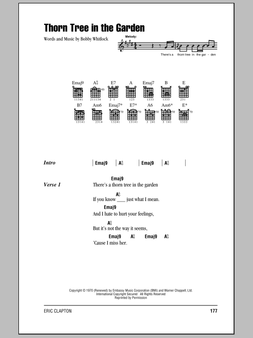 Download Eric Clapton Thorn Tree In The Garden sheet music and printable PDF score & Rock music notes