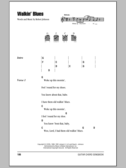 Download Eric Clapton Walkin' Blues sheet music and printable PDF score & Pop music notes
