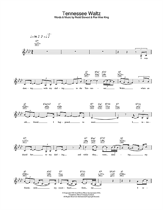 Download Eva Cassidy Tennessee Waltz sheet music and printable PDF score & Jazz music notes