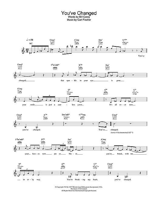 Download Eva Cassidy You've Changed sheet music and printable PDF score & Jazz music notes