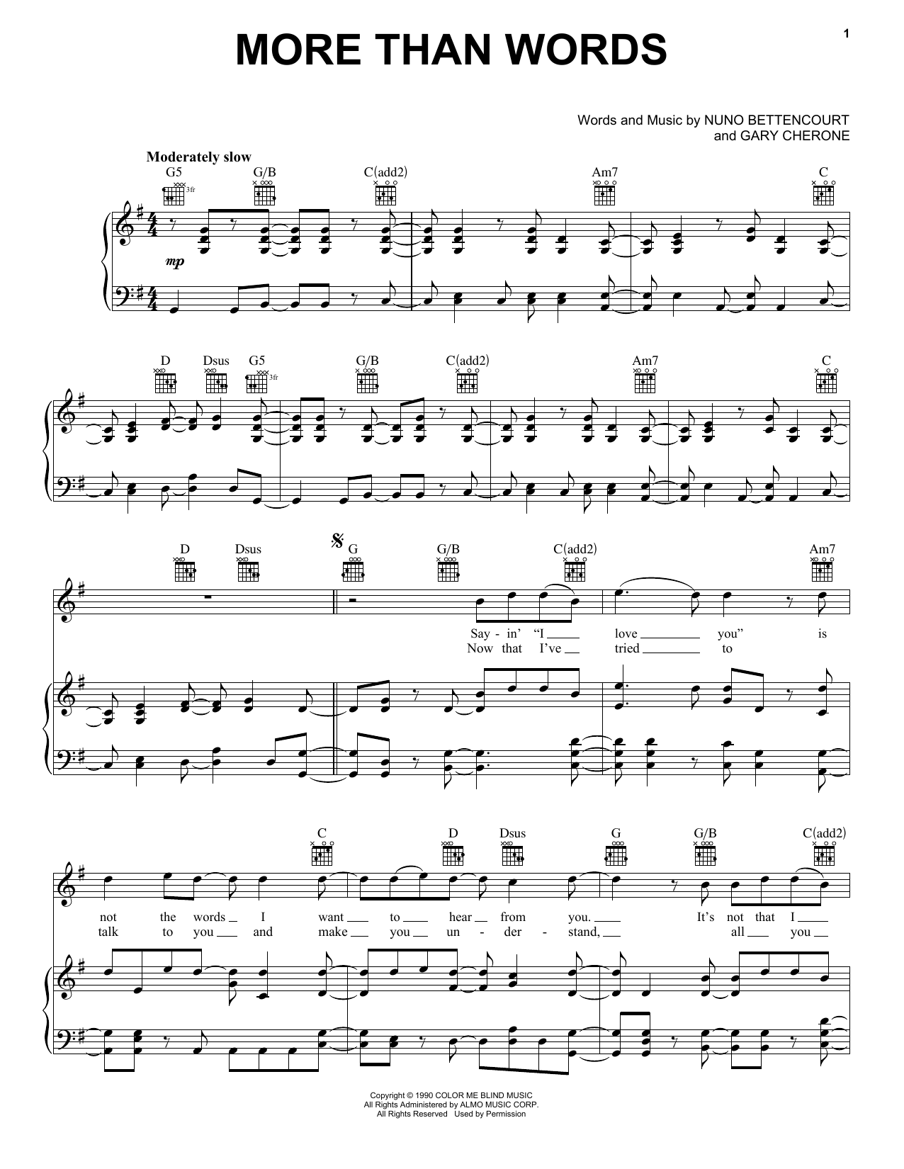 Download Extreme More Than Words sheet music and printable PDF score & Metal music notes