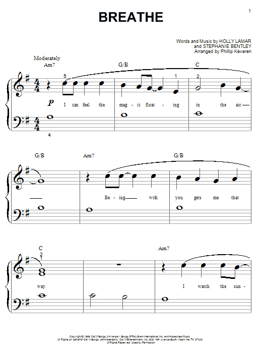 Download Faith Hill Breathe sheet music and printable PDF score & Pop music notes