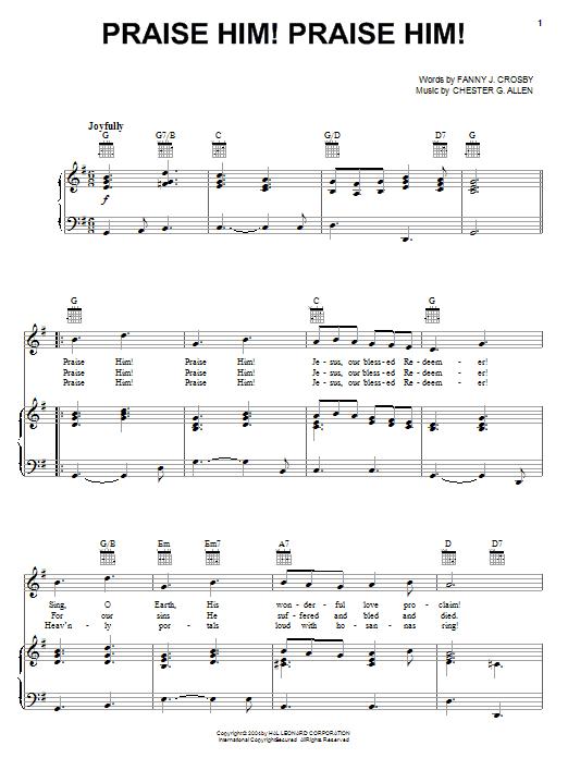Download Fanny J. Crosby Praise Him! Praise Him! sheet music and printable PDF score & Hymn music notes