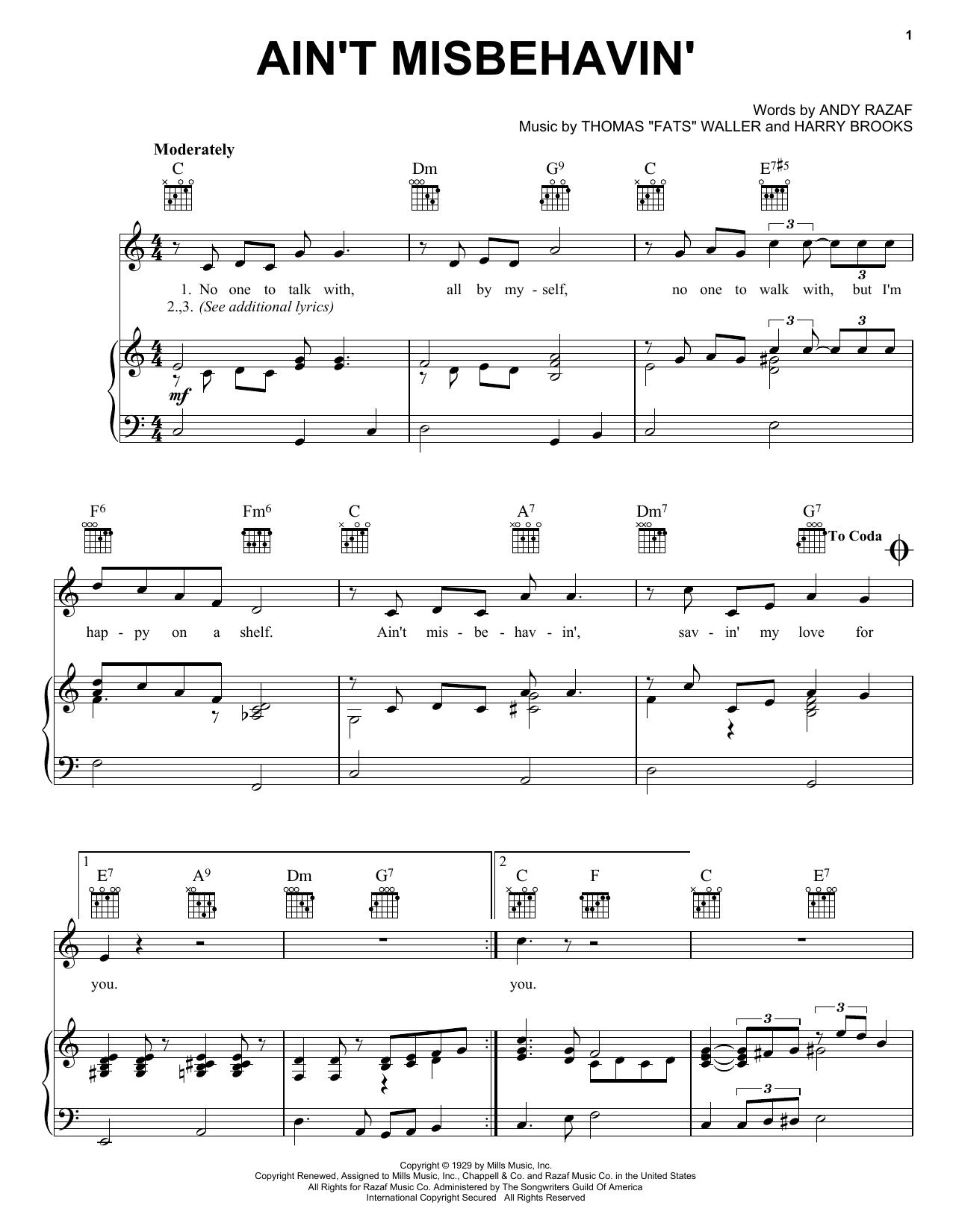 Download Fats Waller Ain't Misbehavin' sheet music and printable PDF score & Jazz music notes