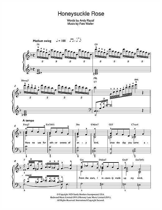 Download Fats Waller Honeysuckle Rose sheet music and printable PDF score & Jazz music notes