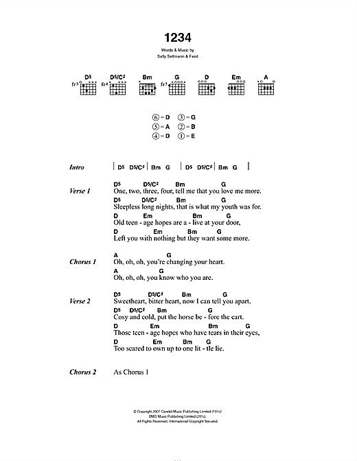 Download Feist 1234 sheet music and printable PDF score & Pop music notes