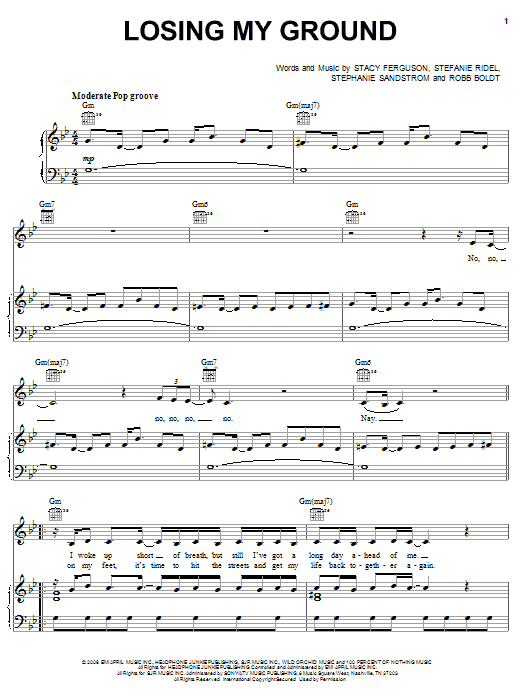 Download Fergie Losing My Ground sheet music and printable PDF score & Pop music notes