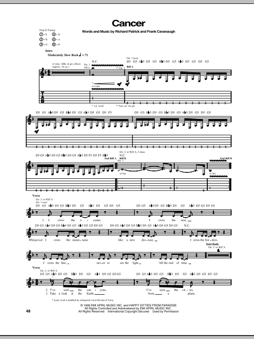 Download Filter Cancer sheet music and printable PDF score & Pop music notes
