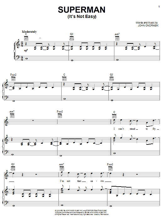 Download Five For Fighting Superman (It's Not Easy) sheet music and printable PDF score & Rock music notes