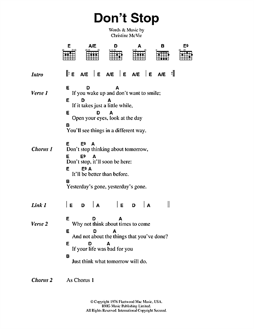 Download Fleetwood Mac Don't Stop sheet music and printable PDF score & Rock music notes