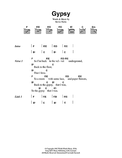 Download Fleetwood Mac Gypsy sheet music and printable PDF score & Rock music notes