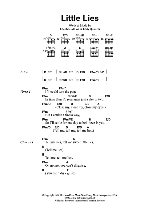 Download Fleetwood Mac Little Lies sheet music and printable PDF score & Rock music notes