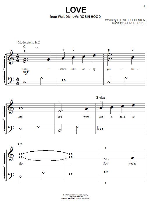 Download Floyd Huddleston Love (from Walt Disney's Robin Hood) sheet music and printable PDF score & Children music notes