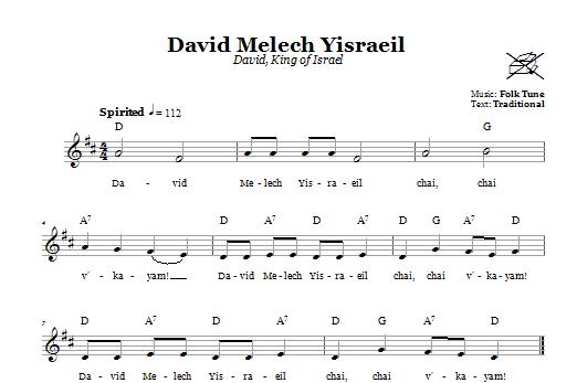 Download Folk Tune David Melech Yisraeil (David, King Of Israel) sheet music and printable PDF score & Religious music notes